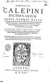 Ambrosii Calepini dictionarium lat. et gr