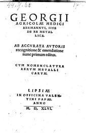 Bermannus sive de re metallica ab accurata autoris recognitione editus