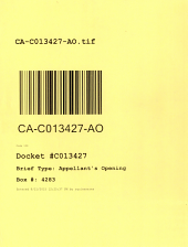 California. Court of Appeal (3rd Appellate District). Records and Briefs: C013427, Appellant's Opening