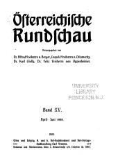 Österreichische rundschau: Band 15