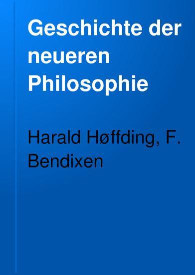 Geschichte der neueren Philosophie PDF