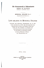 Laws Relating to Municipal Finances: Volumes 5-7