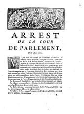 Arrest De La Cour De [!] Parlement: Du 6 Août 1761