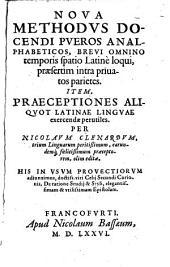Nova methodus docendi pueros analphabeticos: brevi omnio temporis spatio latine loqui, praesertim intra privatos parietes ...