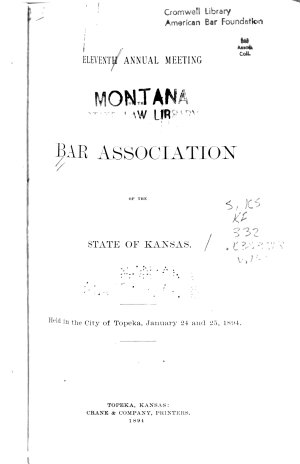 Annual Meeting of the Bar Association of the State of Kansas