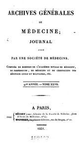 Archives générales de médecine: Volume27