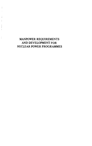 Manpower Requirements and Development for Nuclear Power Programmes PDF