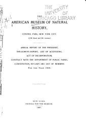 Annual Report of the American Museum of Natural History: Volumes 28-29