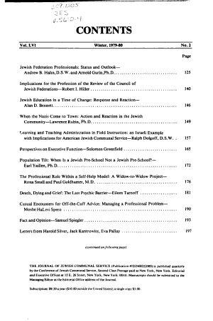 The Jewish Social Service Quarterly