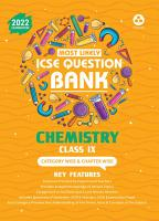 ICSE Most Likely Question Bank Chemistry Class 9  2022 Exam    Categorywise   Chapterwise Topics  Indepth Concepts  Quick Revision PDF