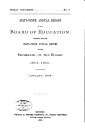 Annual Report of the Board of Education: Volume 69