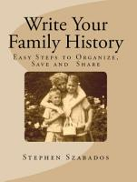 Write Your Family History  Easy Steps to Organize  Save and Share PDF