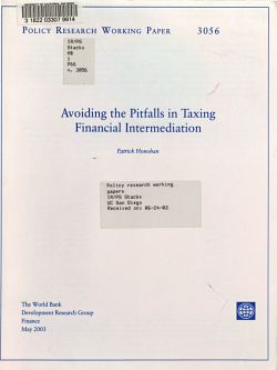 Avoiding the Pitfalls in Taxing Financial Intermediation PDF