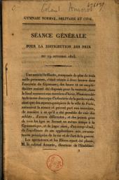 Gymnase normal, militaire et civil. Séance générale pour la distribution des prix du 19 octobre 1823
