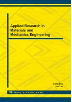 Applied Research in Materials and Mechanics Engineering PDF