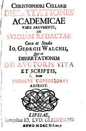 Dissertationes academicae varii argumenti