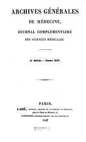 Archives générales de médecine: Volume4;Volume14
