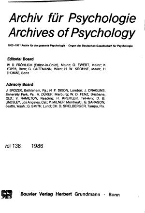 Archiv f  r Psychologie PDF