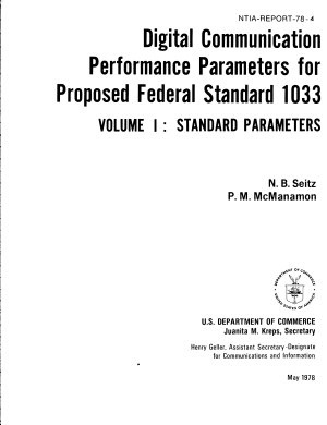 Digital Communication Performance Parameters for Proposed Federal Standard 1003