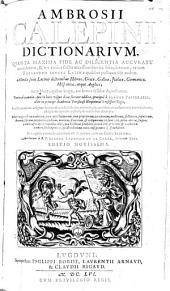 Dictionarium, seu Thesaurus linguae latinae: Volume 1