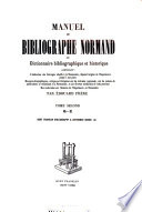Manuel Du Bibliographe Normand
