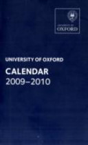 Oxford University Calendar 2009 2010