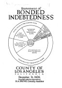 Statement of Bonded Indebtedness     County of Los Angeles California  December 31  1926