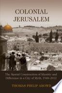 Colonial Jerusalem Book PDF