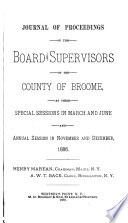 Journal Of Proceedings Of The Board Of Supervisors Of The County Of Broome State Of New York