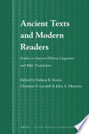 Ancient Texts and Modern Readers Book