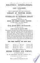 Bibliotheca Sunderlandiana Book