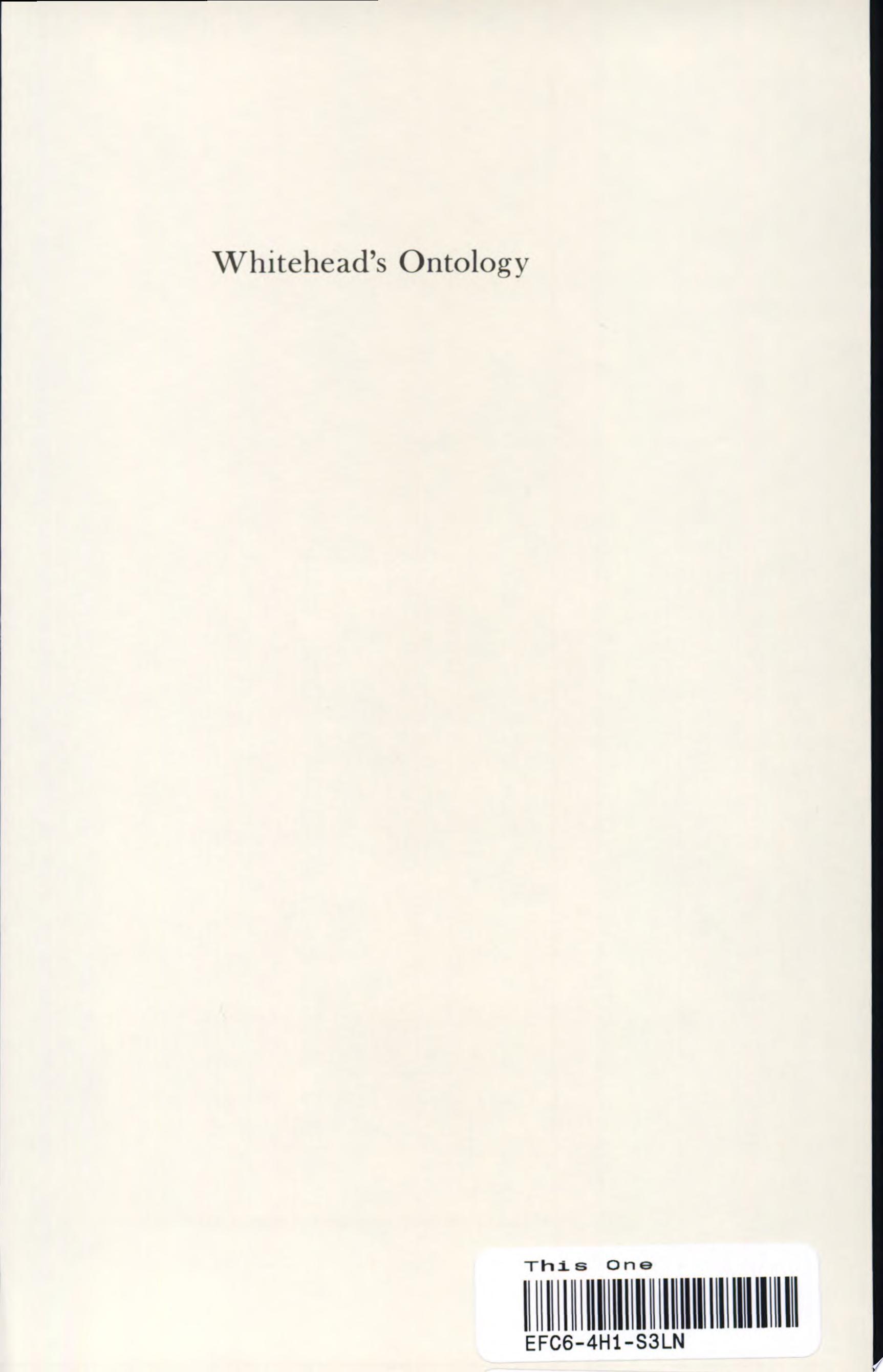 Whitehead s Ontology