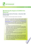 Monitoring the impact of COVID-19 in Myanmar: Mechanization service providers - December 2020 survey round
