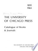 The University of Chicago Press: Catalogue of Books & Journals
