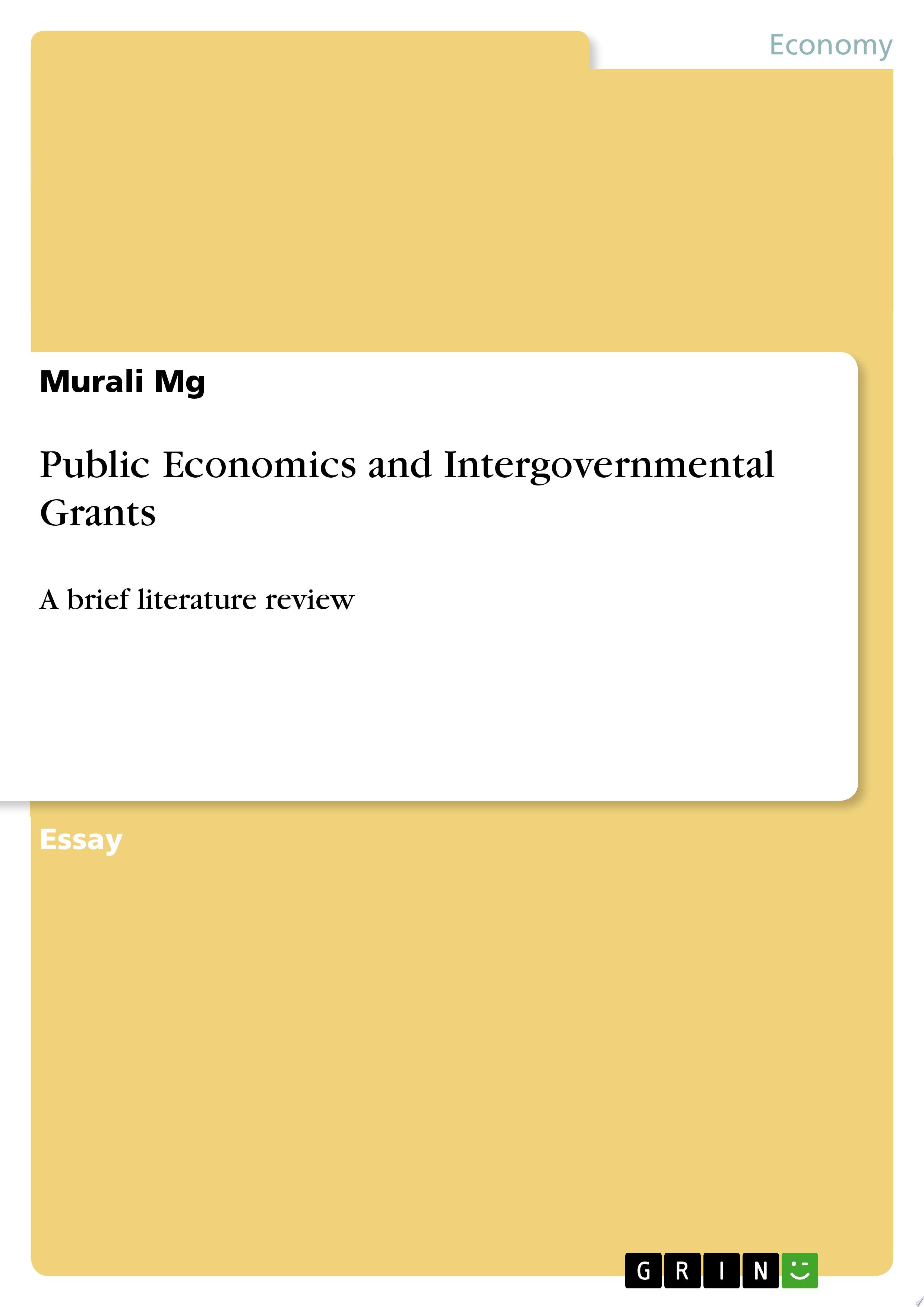 Public Economics and Intergovernmental Grants