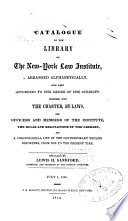 Catalogue of the Library of the New York Law Institute