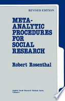 Meta Analytic Procedures for Social Research