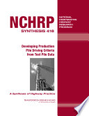 Developing Production Pile Driving Criteria from Test Pile Data