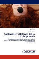 Quetiapine Vs Haloperidol in Schizophrenia Book