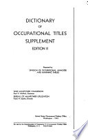 Dictionary of Occupational Titles  Supplement  Edition II  Book