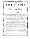 Pdf The Opening of the Great Seale of England