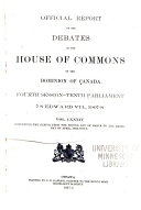 Official Reports of the Debates of the House of Commons of the Dominion of Canada Book
