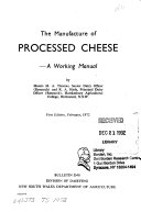 The Manufacture Of Processed Cheese Book PDF