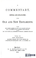 A Commentary  Critical and Explanatory  on the Old and New testaments