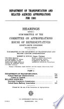 Department of Transportation and Related Agencies Appropriations for 1981