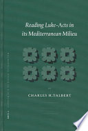 Reading Lucke Acts In Its Mediterranean Milieu