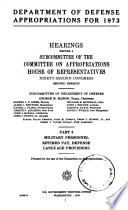 Department of Defense Appropriations for 1973
