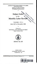 Subject Index To The Monthly Labor Review