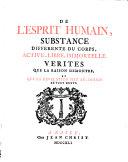 De L'Esprit Humain, Substance Differente Du Corps, Active, Libre, Immortelle