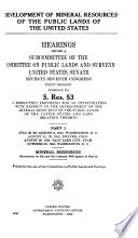 Development of Mineral Resources of the Public Lands of the United States